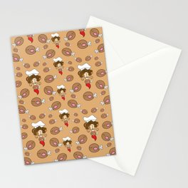 chef with fried chicken thigh tie Stationery Cards