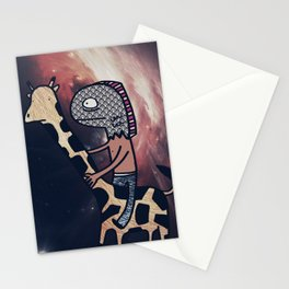 Half Man/Half Fish Riding a Giraffe in Space Stationery Cards