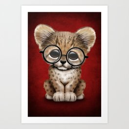 Cute Cheetah Cub Wearing Glasses on Deep Red Art Print