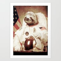 astronaut Art Prints featuring Sloth Astronaut by Bakus
