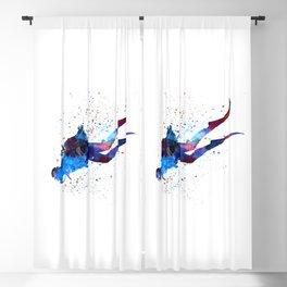 Man scuba diver 03 in watercolor Blackout Curtain