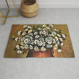 Daisies In A Copper Colored Vase Rug