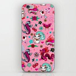 Lucky Cat Maneki Neko , Dragons and Koi fish On Pink iPhone Skin