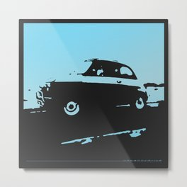 Fiat 500 classic, Light Blue on Black Metal Print