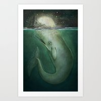 moby dick Art Prints featuring Moby Dick by Marilyn Foehrenbach Illustration