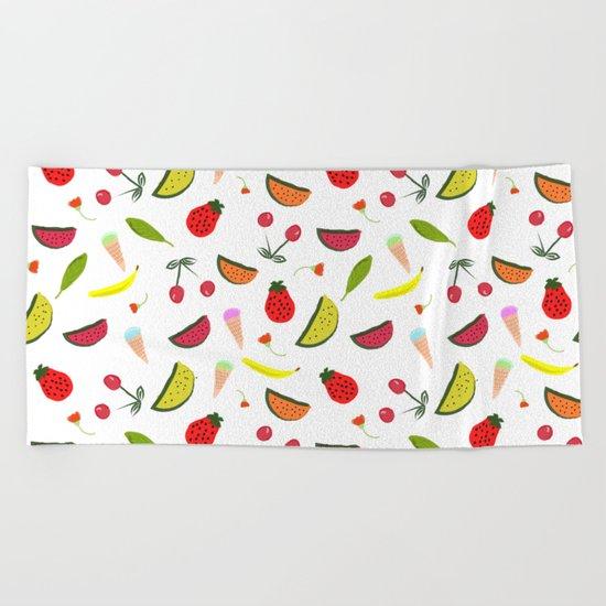 Vegan Goodies Pattern Beach Towel