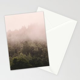 Pink Foggy Forest Landscape Photography Nature Earth Stationery Cards