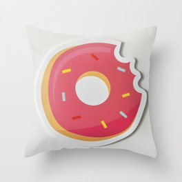 Delicious Pink Donut Throw Pillow