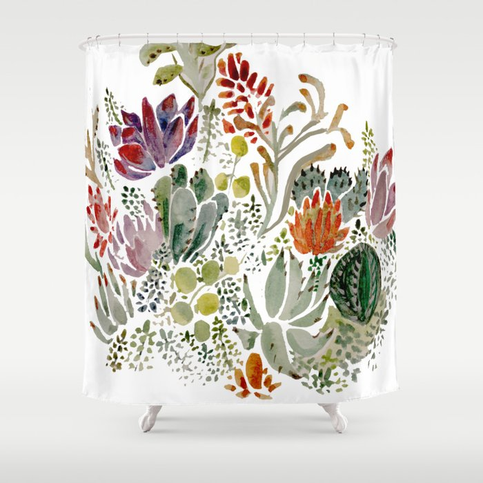 Succulents Shower Curtain By Hannahgraff