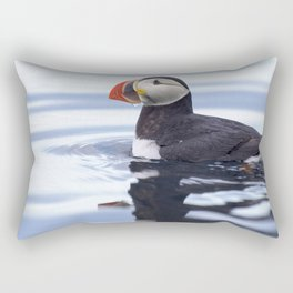 Awesome Lovely Atlantic Puffin Swimming In Sea Close Up Ultra HD Rectangular Pillow