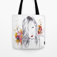 kate moss Tote Bags featuring Kate Moss by Megan Sheridan
