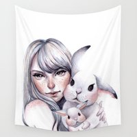 cuddle Wall Tapestries featuring Cuddle! by Koanne Ko