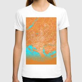 Karachi, Pakistan, Gold, Blue, City, Map T-shirt