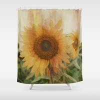 sunflower Shower Curtains featuring sunflower by VanessaGF