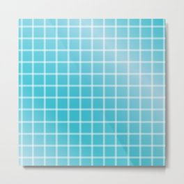 Ocean blue and white line art Metal Print