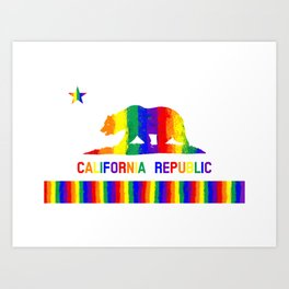 Rainbow California State Flag Art Print