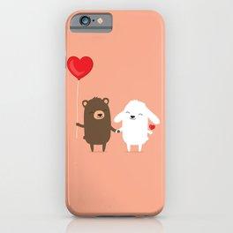 Cute cartoon bear and bunny rabbit holding hands iPhone Case