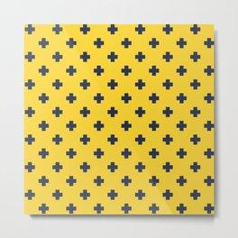 Navy Blue Swiss Cross Pattern on Yellow background Metal Print