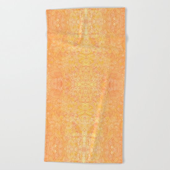 Ombre yellow and orange swirls doodles Beach Towel