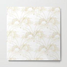 Elegant tropical leaves golden strokes design Metal Print