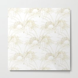 Elegant tropical leaves golden strokes design Metal Print
