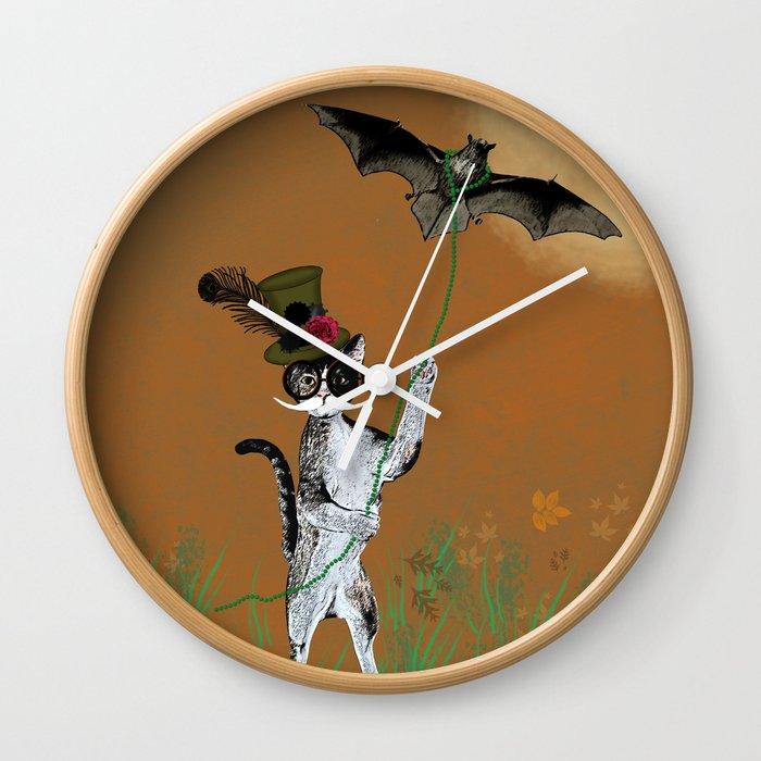 Cat Walking His Bat Wall Clock
