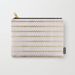 Modern chic faux gold blush pink chevron Carry-All Pouch