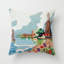 Cross stitch Windmill Throw Pillow