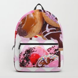 CHOCOLATE & PINK  STRAWBERRY GLAZED DONUTS ART Backpack