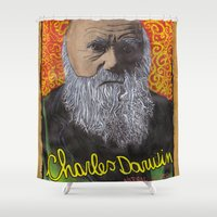 darwin Shower Curtains featuring Charles Darwin by Ibbanez