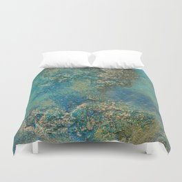 Blue And Gold Modern Abstract Art Painting Duvet Cover