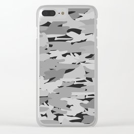 Camo - Black & white Clear iPhone Case