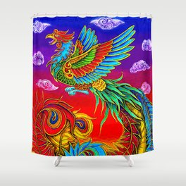 Colorful Fenghuang Chinese Phoenix Rainbow Bird Shower Curtain