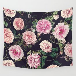 Dark Floral Pattern Wall Tapestry