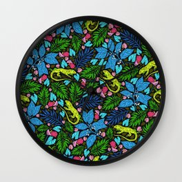 Tropical Lime-Green Lizards and Jungle Leaves Wall Clock