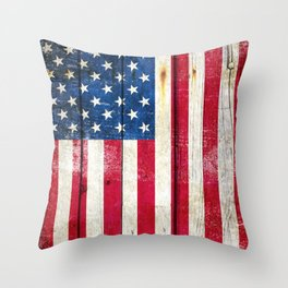 Vintage American Flag On Old Barn Wood Throw Pillow