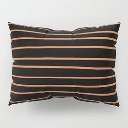 Pantone Amberglow 16-1350 Hand Drawn Horizontal Lines on Black Pillow Sham