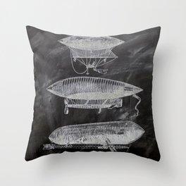 chalkboard art victorian steampunk hot air balloon airship patent print Throw Pillow