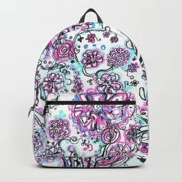 Purple and blue tree and flowers Backpack