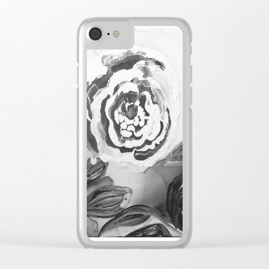 Mother's Day Roses Silver Year Black and White Clear iPhone Case
