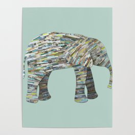 Elephant Paper Collage in Gray, Aqua and Seafoam Poster