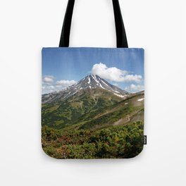 Picturesque summer panorama of volcanic landscape in Kamchatka Peninsula Tote Bag