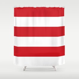 Wide Horizontal Stripes - White and Fire Engine Red Shower Curtain