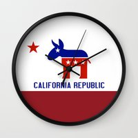 political Wall Clocks featuring Political California Republic Democrat by NorCal