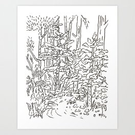 Creek Drawing  Art Print