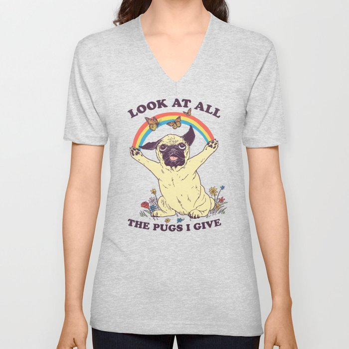All The Pugs I Give Unisex V-Neck