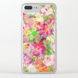 Colorful Watercolors Flowers Collage Clear iPhone Case