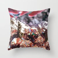 crystals Throw Pillows featuring Crystals by Collage Heaven