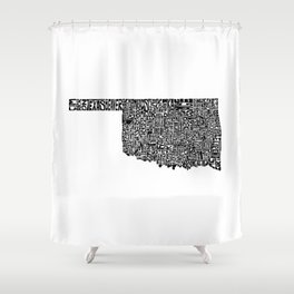 Typographic Oklahoma Shower Curtain