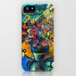 Flowers in Blue Landscape iPhone Case